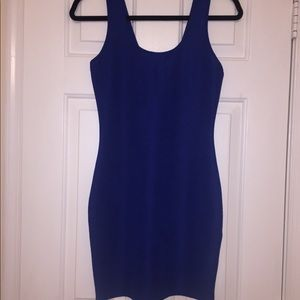 Blue fitted mini dress